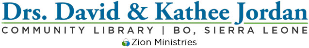 Jordan community library  and Zion Ministries logos